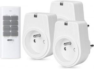 Lunvon 12 Canaux, 1000 Watts, Prise Télécommandée Programmable, Prise Electrique, 3 Prises Et Une Télécommande,